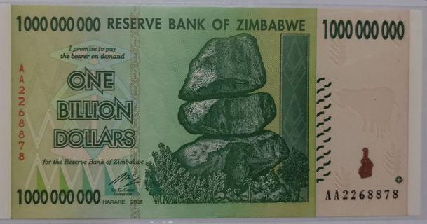 尾8 全新直版已经绝版珍藏送禮留念皆宜津巴布韋十億紙幣 AA版