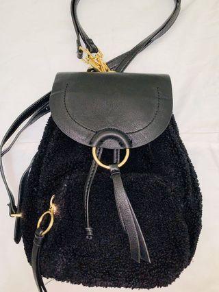 Black mini wool bagpack