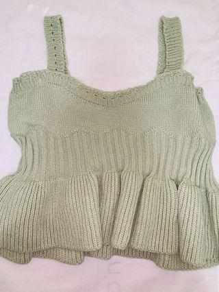 Green ruffle wool top