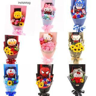 Graduation convocation hood and gown bouquet flowers soft toys roses sunflower Winnie the Pooh my melody superman Doraemon preorder NTU students (all flowers r soap/silk everlasting flowers)