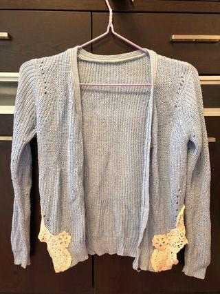 🧚🏻♀️韓國 淺藍色 baby Tiffany blue lace OL 蕾絲 女神 針織 外套 短身🧚🏻♀️
