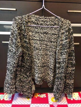 Women long jacket checked black & white OL 黑白點點長外套 針織 綿 女裝 韓國