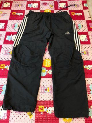 ADIDAS Men sportswear size L🌸Adidas 黑色運動長褲 索帶扣 可調教褲腳