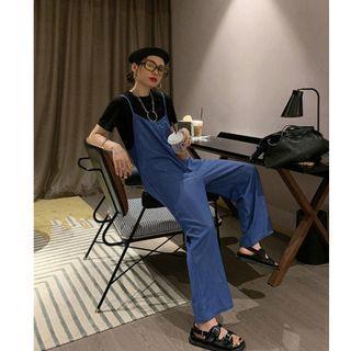 VM 春夏新款 港風復古寬鬆百搭 闊腿吊帶連身褲