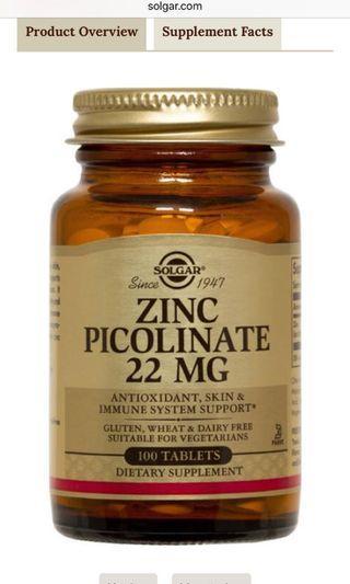 🚚 Solgar Zinc Picolinate