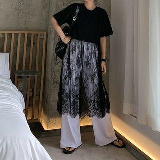 VM 春夏新款 港風百搭寬鬆網紗蕾絲拼接短袖T恤 連身裙