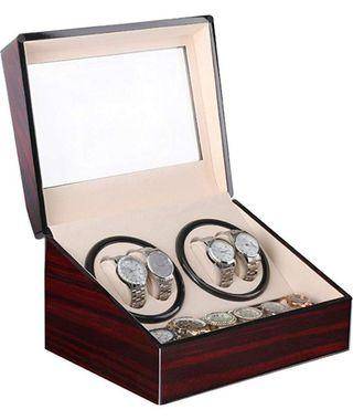 (3B046) Automatic Watch Winder Box Luxury Wooden For 4 Wrist Watches + 6 Storage