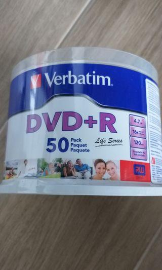 New Verbatim DVD +R光碟50隻