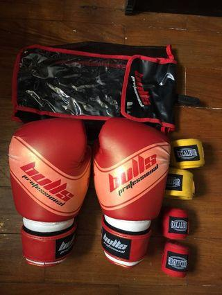 Bulls Boxing Gloves With FREE 2pcs Excalibur Handwraps
