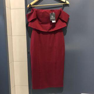 With Tag: Doublewoot Maroon Off Shoulder Dress