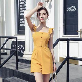 🚚 Sling jumpsuit female 2019 summer new ruffled sexy backless loose thin strap wide leg shorts female