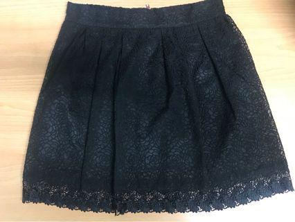 正韓 黑色蕾絲短裙