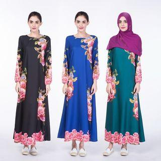 Digital printing muslim dress roupas arabes para mulher robe