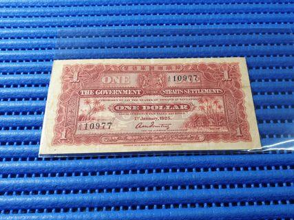 1925 Straits Settlements $1 Note J/11 10977 Dollar Banknote Currency