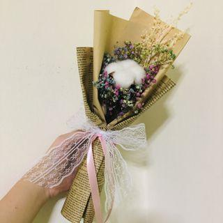 INSTOCK 🌼 Dried Cotton Flower with Rainbow Baby Breath Mini Bouquet