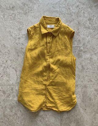 Uniqlo Women yellow Linen blouse sleeveless