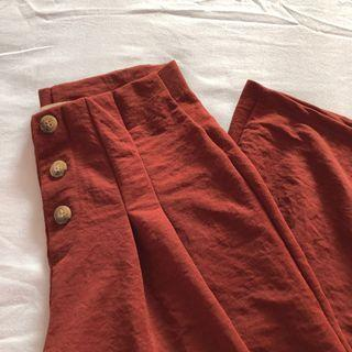 FLASH SALE: Pull&bear pleated button up high waisted culottes