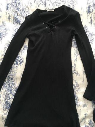 Zara dress black, size small lace up front