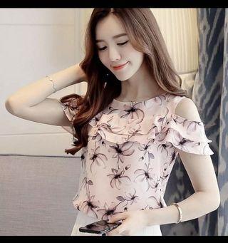 Floral pink ruffle blouse atasan tanpa bahu