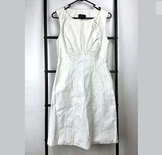 Cue sz 10 white ivory fit flare dress smart casual work career basic designer