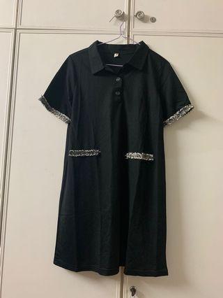 🚚 Black Modal Trim Tweed Polo Dress