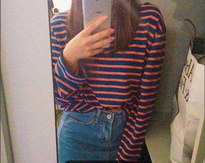 ZARA blue with orange stripes top