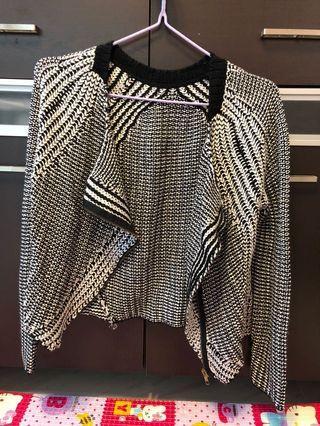 Women checked jacket Korea OL 韓國 女裝短身 針織 拉鍊外套 黑白格紋