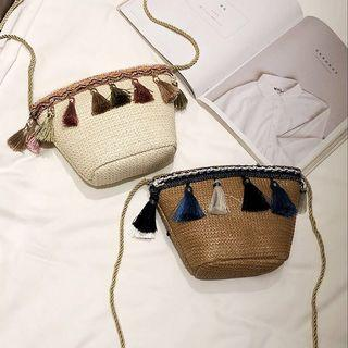 Rattan pompoms sling bag (PO)