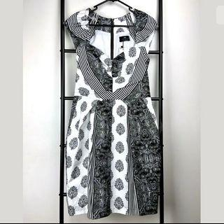 NWT Cue 10 white black dress smart casual work career party basic paisley