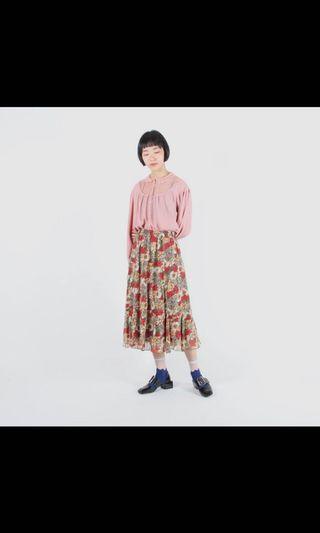 日本製🇯🇵 轉賣 蛋植物古著 eggplant 🍆  熱情花神印花魚尾古著裙 昭和時代