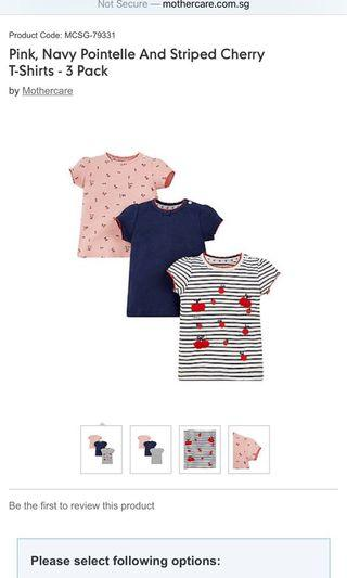 Mothercare pink and stripe cherry top