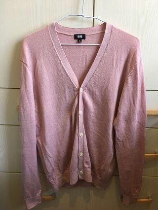 (近全新)Uniqlo混亞麻淡粉紅色開襟衫(男版M)