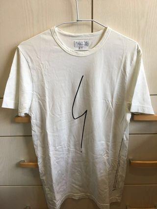 🚚 Agnès b. irony白色純棉短袖T-shirt(男版0號S size)