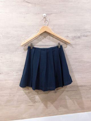 [BN] Pleated Navy Skirt with Inner Shorts