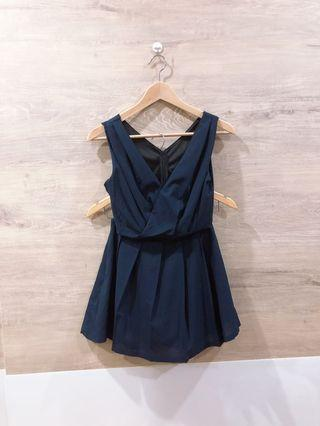 [BN] Navy Pleated Top and Skirt Set