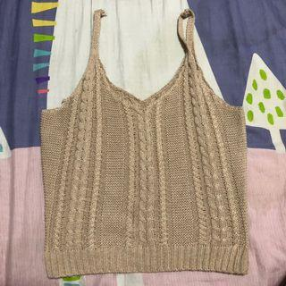 knitted khaki spag top