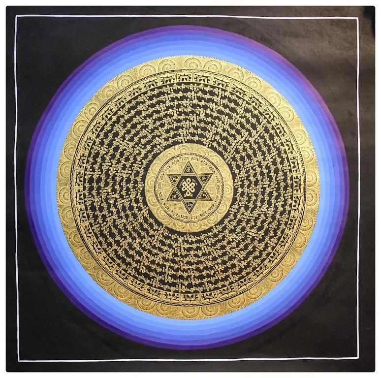 24k Carat Gold Tibetan Art - Painted Thangka (Thanka) Nepal -Meditation Mantra Painting