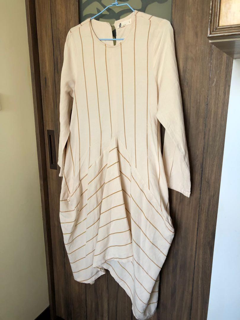 棉麻料娃娃款燈籠裙襬長洋裝