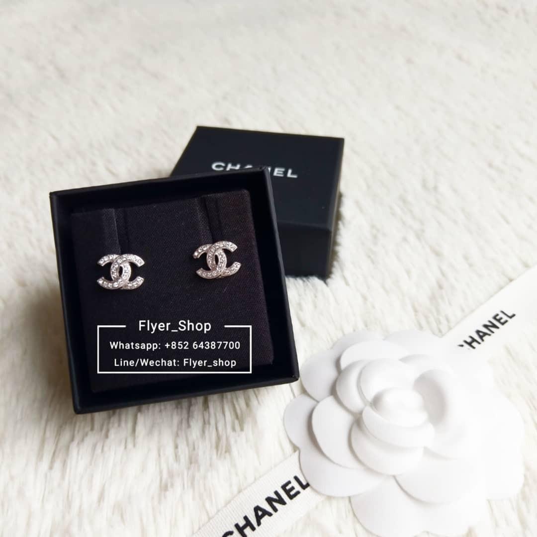 Chanel Classic Mini Silver CC 耳環 earrings