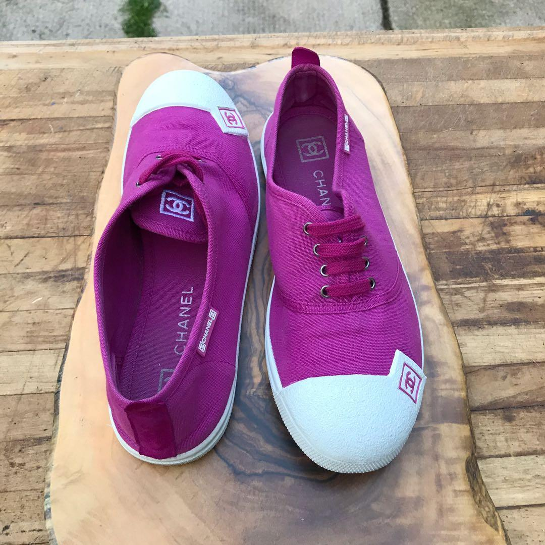 Chanel Fuchsia Sneaker Lace Up Canvas Running Shoes Size 39