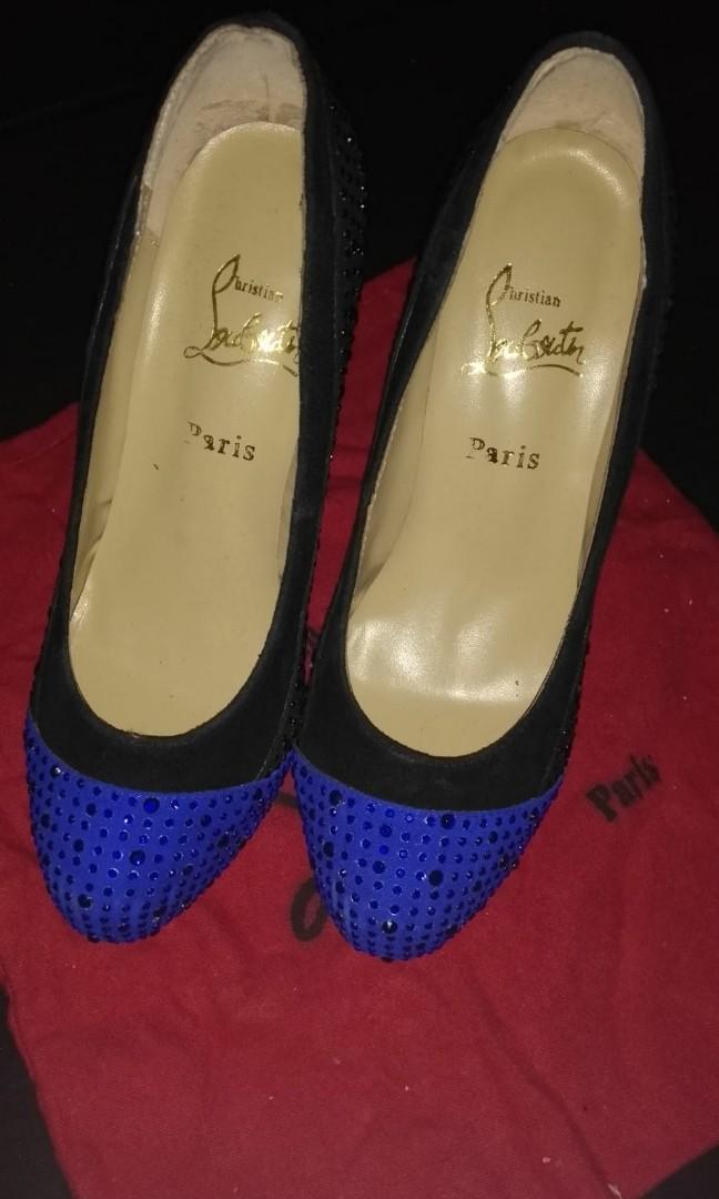 Christian louboutin Paris black and blue studded Calypso pumps