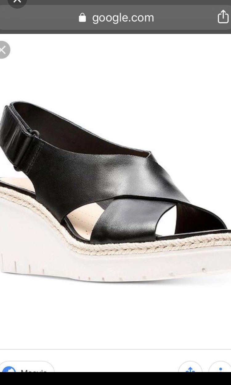 Clark's size 6 leather wedge platform sandal from gravitypope