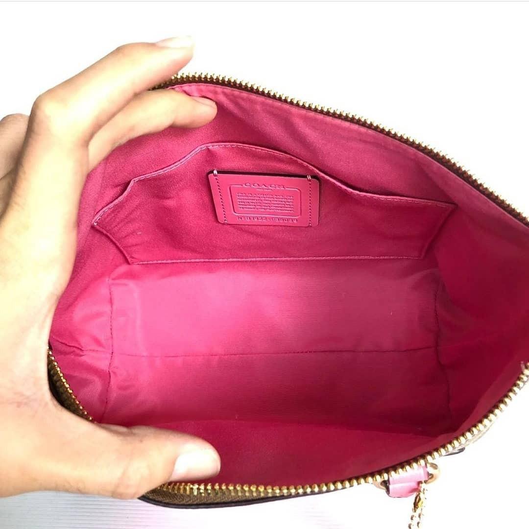 Coach F38089 mini emma satchel sign khaki pink ruby size 23 (30) x 20cm
