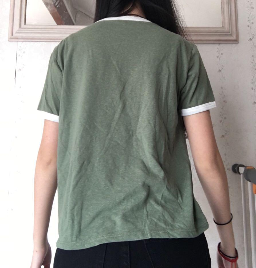 Cropped White/Green Ringer Tee Cotton On