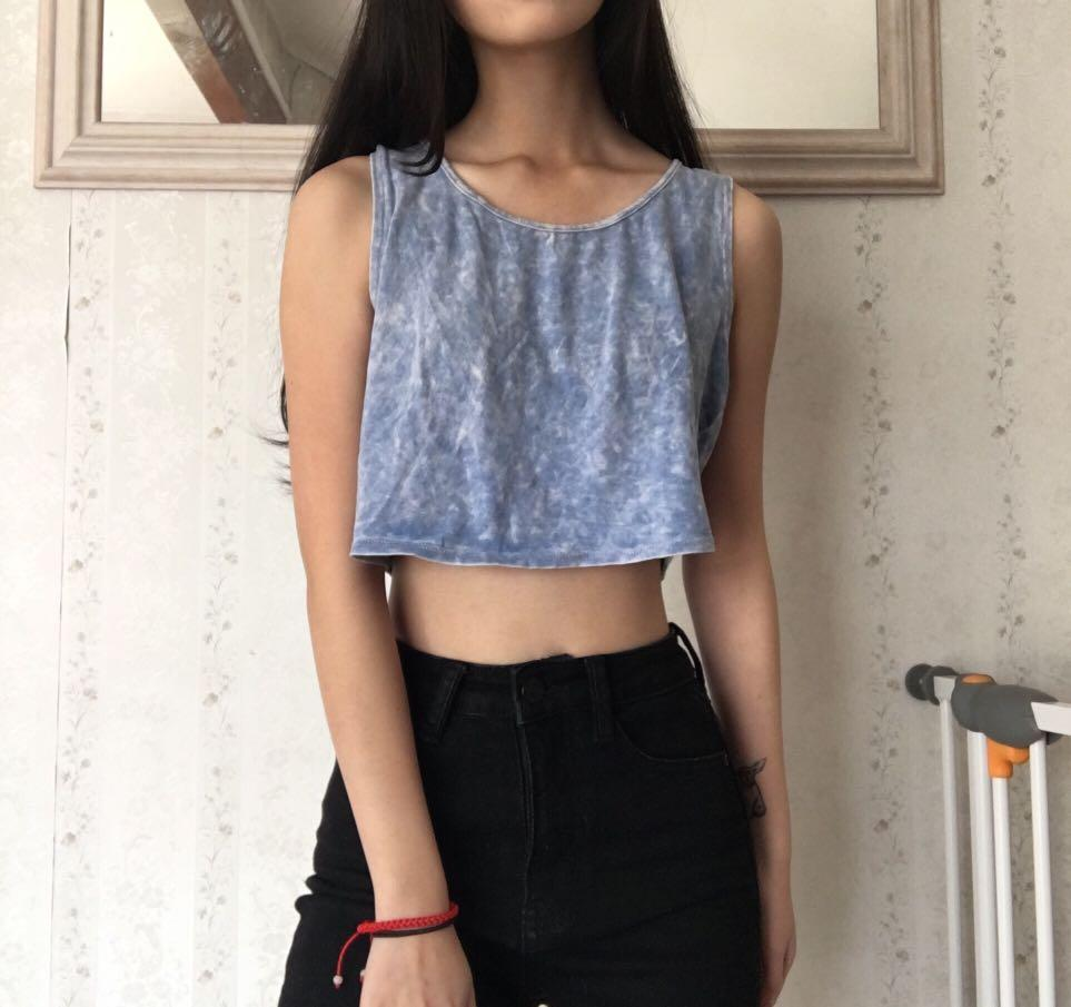 Cute Blue Washed Crop Top with Bow Back Design