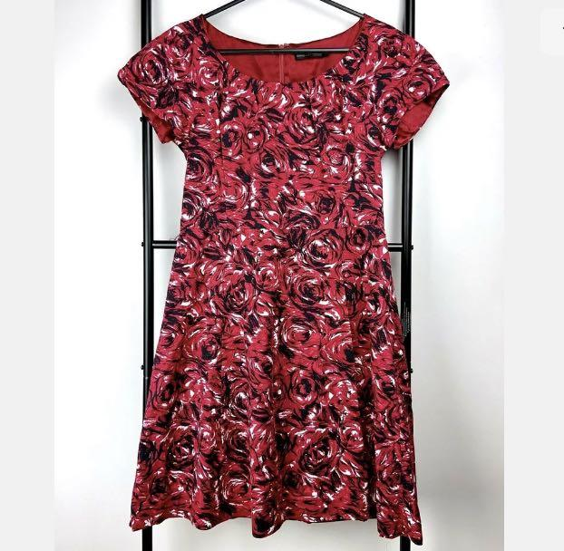 David Lawrence 10 red black floral rose dress smart casual work career party