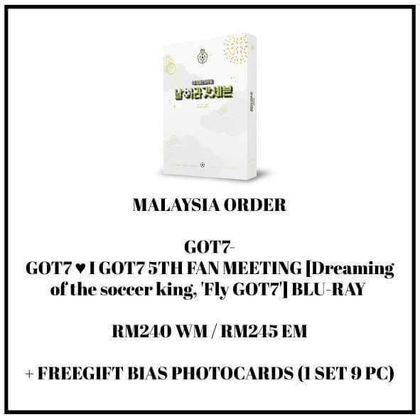 GOT7 - GOT7 I GOT7 5TH FAN MEETING [Dreaming of the soccer king, 'Fly GOT7'] BLU-RAY  - PREORDER/NORMAL ORDER/GROUP ORDER/GO + FREE GIFT BIAS PHOTOCARDS (1 ALBUM GET 1 SET PC, 1 SET HAS 9 PC)