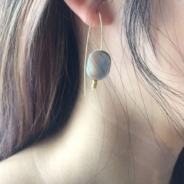 HANDMADE NEW MOTHER OF PEARL EARRINGS WITH GOLD PLATED WIRE