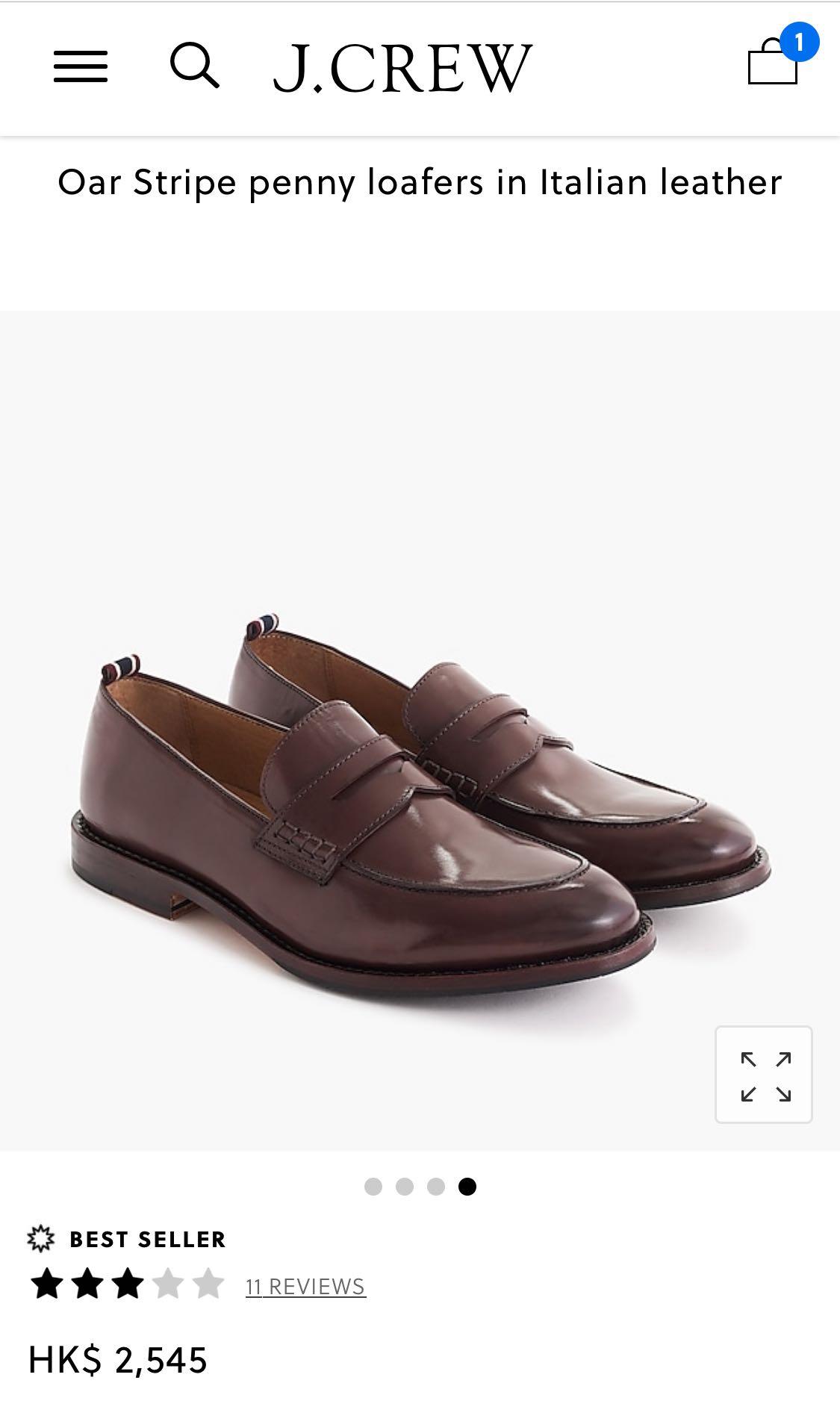 62688a5387f72 J.Crew leather shoes, Oar Stripe penny loafers in Italian leather, Men's  Fashion, Men's Footwear on Carousell