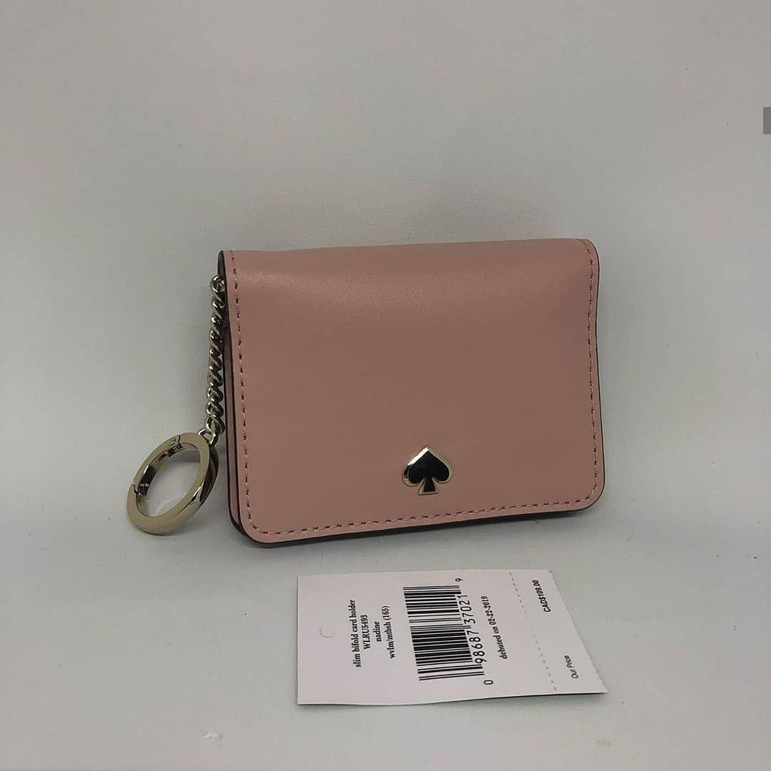 Kate Spade Slim Bifold Card Holder with key ring sz 10x8 Warm Vellum